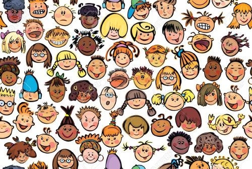 10479912-seamless-pattern-of-kids-different-races-stock-vector-preschool-funny-pupil